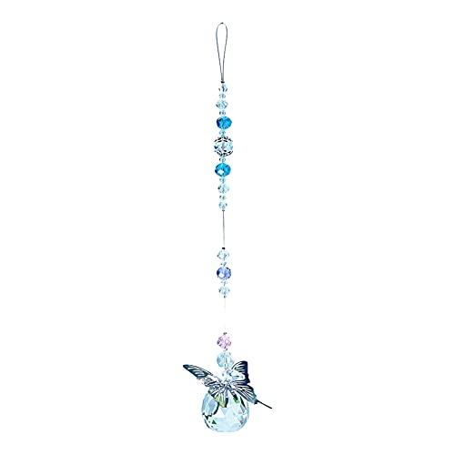 xueren Colgante de cristal con forma de atrapasueños de cristal y arco iris, diseño de mariposa, colgante de bola de cristal para colgar