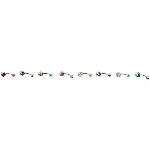 Dasorende 8X Joya de Cuerpo de Titanio de Diamante de Imitacion Piercing de Ombligo