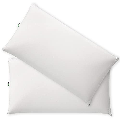 TextilECO Almohada Viscoelastica Firmeza Media. Compacta Comoda Transpirable Impermeable. Ventilacion Lateral Tejido 3D. Funda Lavable con Cremallera. Viscoair. 75 cm