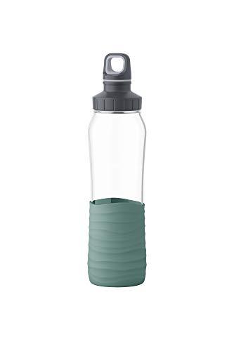 Emsa N3100300 Drink2Go Glas Trinkflasche (Fassungsvermögen: 0,7 Liter, Schraubverschluss) Petrol-Grün