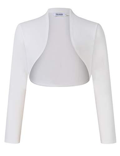 KOJOOIN Damen Bolero Kurze Strickjacke Festlich Kurz Cardigan Elegant Schulterjacke Weiß L(Verpackung MEHRWEG)