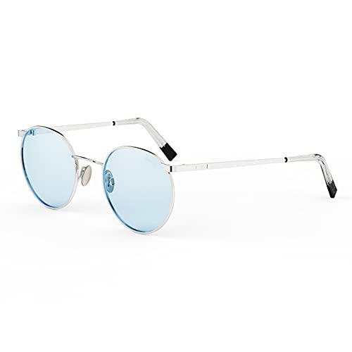 Randolph USA | P3 Vintage Runde Sonnenbrille für Damen oder Herren 100% UV, Blau (23 Karat Weißgold/Blau Hydro nicht polarisiert 51 mm), Einheitsgröße