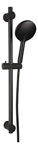 aquaSu® Duschset Olora | schwarz | Duschkopf: 1 Strahlart & 12 cm Sprayplatte |150 cm Kunststoff-Brauseschlauch | 70,5 cm Duschstange | Gleiter | Selbstreinigungs-Noppen | 72499 9