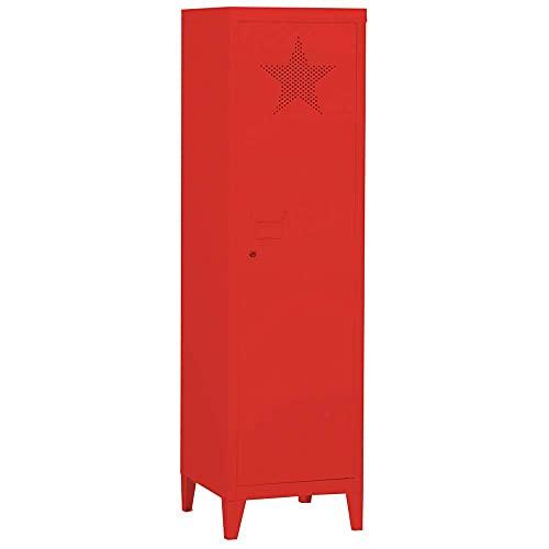 Bakaji Armadietto Armadio da Spogliatoio Mobile Mobiletto in Metallo Anta con Chiusura a Chiave Decorazione Stella Traforata 3 Ripiani Interni Design Moderno industriale 138 x 38 x 38 cm (Rosso)