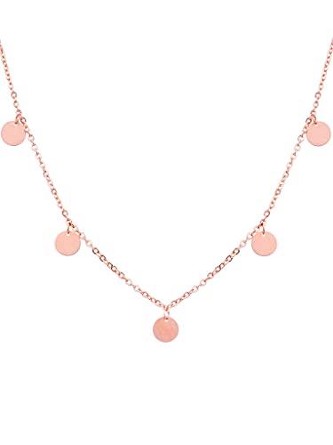 a little something ® Halskette Camden | Damen Coin Kette mit 18 Karat Vergoldung in Roségold | Inklusive nachhaltiger Geschenkverpackung (FSC®-Zertifikat)