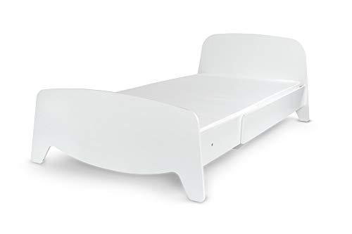 Leomark Cama con regulación del Largo - Sophia - el Estilo escandinavo, Moderno Dormitorio para Niños, 3 ajustes de Longitud, Espacio para Dormir: 200/90 (Colchón Espuma Cama Extensible 90x200 cm)