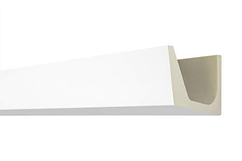 Stuckleiste AB274 | indirekte LED Beleuchtung | Zierprofil | glatte vorgrundierte Oberfläche | Decken-/ und Wandübergang | weiß | stabil | PU | 110 x 71 mm | 2 Meter