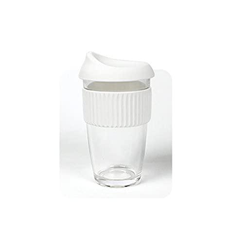 TJYEDUW Vaso de vidrio transparente reutilizable para beber de pared gruesa, taza de café, con leche, whisky, té, cerveza, vasos de vino a granel (capacidad: 450 ml, color: blanco)