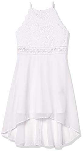 Amy Byer Girls' Scalloped Edge Halter Dress, New White, 10