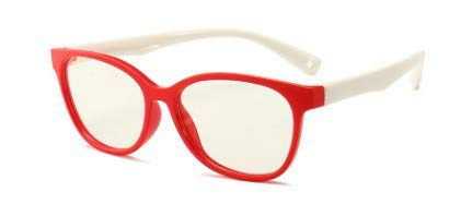 B-LIGHT Blue Light Blocking Children's Fashion Glasses. Help Prevent Eye Strain, Headaches from Phones, Laptops, Tablets, Gaming. TPEE Flexible. Unisex. Boys. Girls. Red & White.