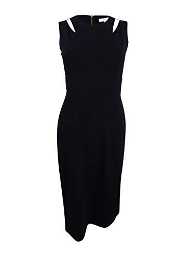 Calvin Klein Damen ärmellose Hülle mit Rundhalsausschnitt und Schulterausschnitt - Schwarz - 42