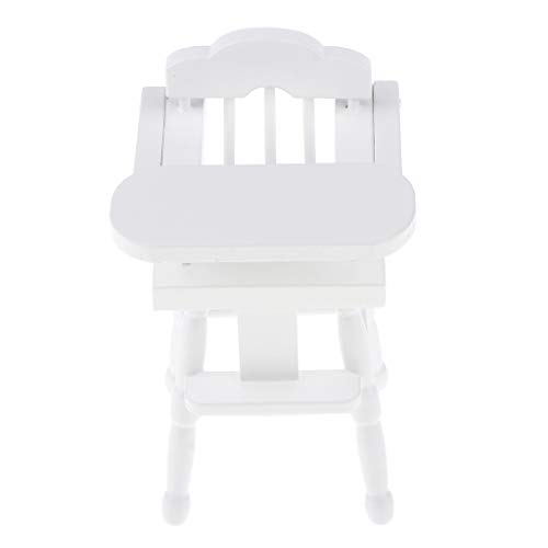 FLAMEER 1/12 Puppenhaus Esszimmer Miniatur Baby Hochstuhl Klappstuhl Holzmöbel Modell - Weiß