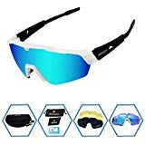 GIEADUN Sports Sunglasses Protection Cycling Glasses Polarized UV400 for Cycling, Baseball,Fishing, Ski Running,Golf (White Black)
