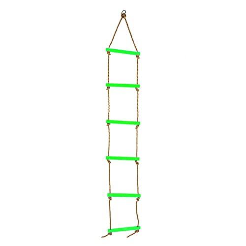 Tuzoo Rainbow Craft - Escalera De Cuerda De Escalada De 6.6 Pies para Niños, Escalera Colgante para Columpio, Escalera De Juguete para Niños, Escalera De Escalada, Juguete De Fitness(Verde)