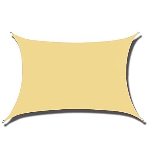 HJXX Toldo de vela rectangular / cuadrado impermeable, toldo para patio, impermeable, cubierta de bloque UV para exteriores, cochera, jardín, color arena, 3 x 3 m
