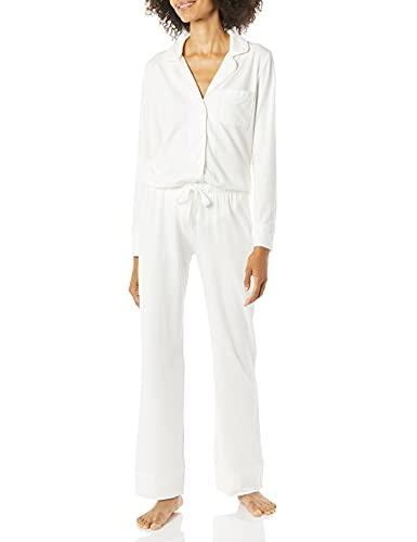 Amazon Essentials Conjunto de Pijama de algodón Modal de Manga Larga con pantalón de Longitud Completa, Blanco, S