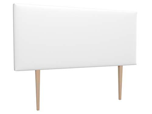 LA WEB DEL COLCHON - Cabecero tapizado Paros Big para Cama de 80 (90 x 115 cms) Blanco Polipiel | Cama Juvenil | Cama Matrimonio | Cabezal Cama |