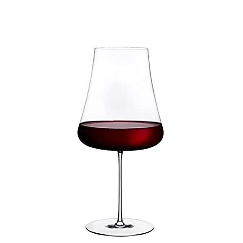 DealMux Copa de vino tinto Copa de vino tinto de alta capacidad Copa grande para el vientre Copa de cristal Copas de champán Vasos para fiestas de hotel Decoración elegante (Color: Transparente, Tama