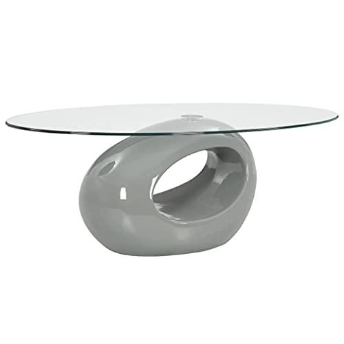 vidaXL Mesa de Centro con Superficie Ovalada de Vidrio Hogar Casa Muebles Mobiliario Comodidad Elegante Decoración Diseño Estilo Salón Gris Brillante