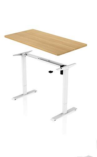 Könighaus Ergonomischer Schreibtisch - Elektrisch Höhenverstellbar (Weißes Gestell mit Ahornfarbener Tischplatte)