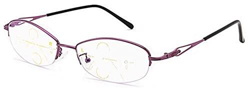 DDSGG Gafas de Lectura Multifocal progresiva Ordenador Gafas de Lectura Multi Focus Gafas de aleación de Material de lejos y de Cerca de Doble Uso de los lectores de Las Lentes for Las Mujeres Vasos