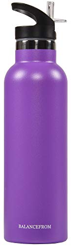 BalanceFrom Double-Wall Vacuum Insulated Stainless Steel Water Bottle, 3 Caps Included, Wide Mouth and Standard Mouth, Multiple Colors and Sizes