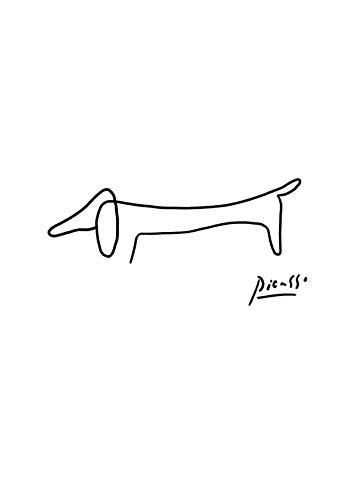 Spiffing Prints Picasso – Dackel-Hund – klein – matt – gerahmt
