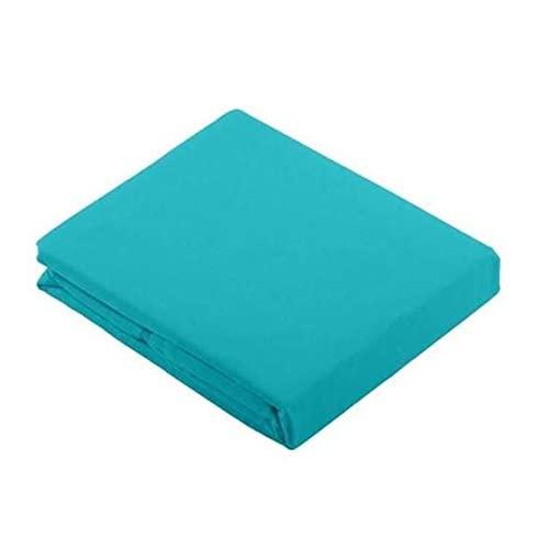 Drap Plat Turquoise/Diabolo Menthe, 240x300cm, 2 Personnes, 100% Coton 57 Fils, Doux et résistant