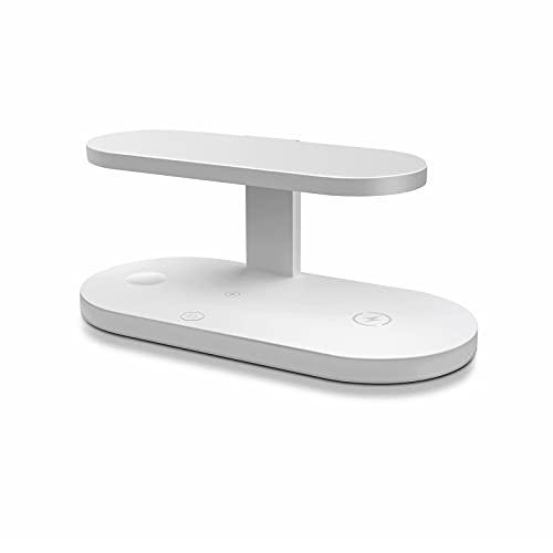 Soporte de carga inalámbrica 4 en 1, lámpara germicida UV, carga rápida inalámbrica para teléfonos móviles, relojes, auriculares, soporte de carga inalámbrica para iPhone y Samsung, compatible con QI
