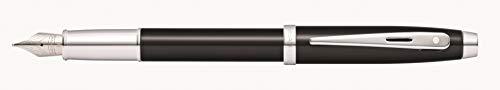 Sheaffer 100 - Pluma estilográfica (grosor de escritura M, con aplicaciones cromadas), color negro