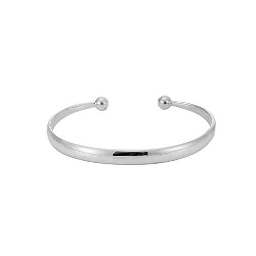 Silverly Frauen .925 Sterling Silber Torque Geschwungener Flacher Rand Einstellbar Armreif Armband