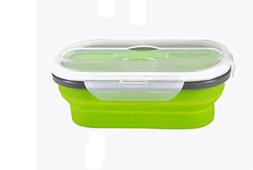 Charm4you Fiambrera de Silicona,Fold Seal Silicon Preservation Box Lunch Box-Green_800ml,Portátil Plegable de Silicona de Bento Box