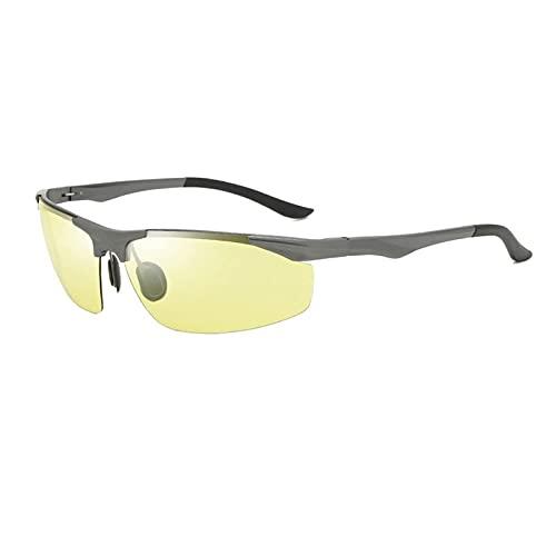 HGJINFANF Gafas de conducción deportivas de alta definición de medio marco, gafas que cambian de color para conducir en bicicleta, gafas de sol de aluminio y magnesio para hombre