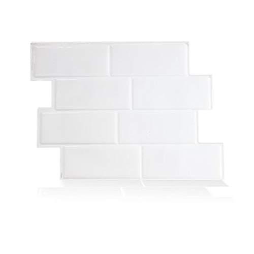 ArteCita - Azulejos adhesivos 3D patentados resistentes al agua y al calor, 29 x 21 cm, color blanco