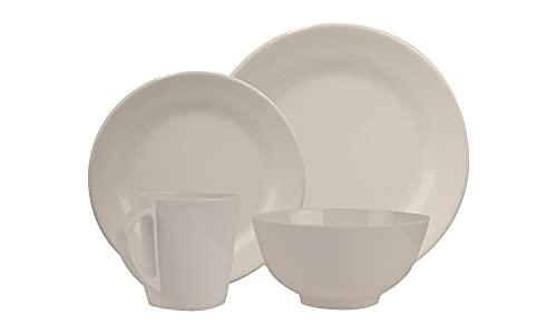 HEKERS Vajilla de 100 % melamina, color marfil/redondo, juego de 1, 2, 4 o 6 personas, apto para lavavajillas