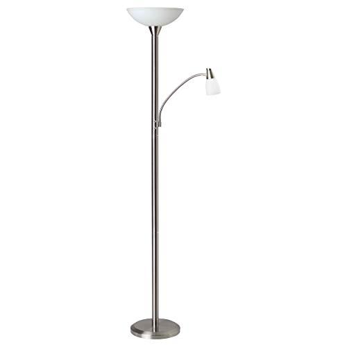 Brilliant Lucy–Lámpara de pie con brazo de lectura, E27LED, 1x 7W, 470lm, 3000K, metal cristal, hierro g93004/13