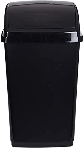 Wham High Grade Plastic Swing Bin Midnight Black Color Waste Recycle Recycling Containers Flip Top Lid Dustbin (Black, 30 Litres)