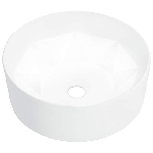 vidaXL Lavabo Sanitario Baño Servicio Fregadero Piezas de Fontanería Bricolaje Instalación Decoración Aseo Grifería Casa 36x14 cm Cerámica Blanco
