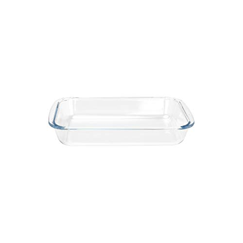 FOYO Basics Tempered Glass Baking Dish, 1.6 Quart Clear Oblong Dish Set, Casserole Dish Cooking Oven Bake