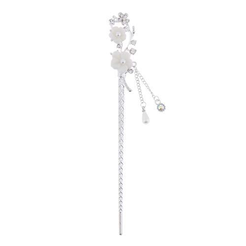 Bonarty Palillos de Pelo Chinos Vintage, Horquilla de Palillos Colgantes de Diamantes de Imitación, Pinzas de Pelo de Metal con Flores Decorativas - #4