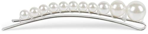 styleBREAKER barrette à perles pour femmes avec perles rondes de différentes tailles, barrette, pince à cheveux, chic parisien 04027009, couleur:Blanc