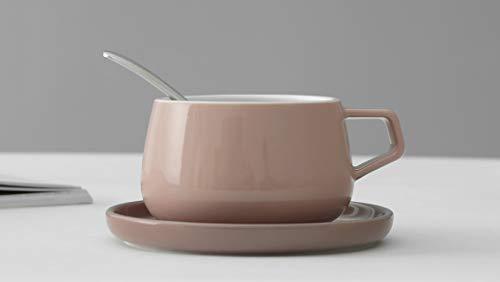 Viva Scandinavia Tasse à thé avec Anse, en Porcelaine avec sous-Tasse, de Couleur Rose, 300 ML