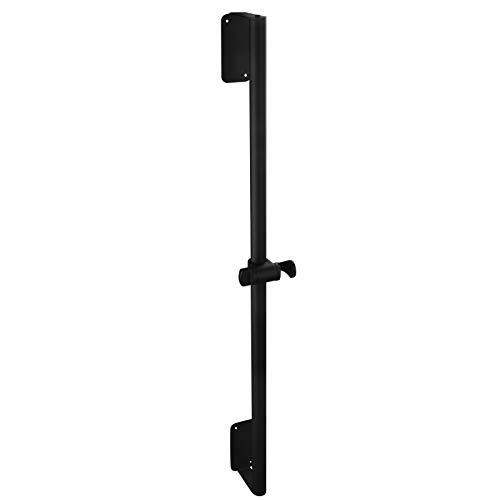 Tecmolog Barra de ducha negra de 80 cm, ángulo ajustable, soporte para alcachofa de ducha, sin agujeros, de acero inoxidable, SBH233B