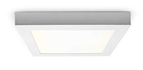 Panneau LED carré avec puissance de 18 W - Montage facile - Blanc neutre - 22,5 cm