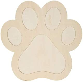 Paw Print Wood Shape Unfinished DIY Cutout Craft Projects Home School Parties