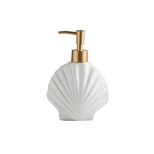 Zanzan Ceramic Cute Seifenspender, Seestern/Muschelform Große Seifenpumpe, nachfüllbare Lotionspumpe, Wiederverwendbare Pumpenflaschen-14.8oz / 11.6oz (Color : Shell)