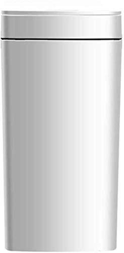L.TSA Papelera Papelera inductiva para el hogar Baño Papelera Inteligente Resistente al Agua Sala de Estar Papelera Cerrada 8L (Color: Blanco)