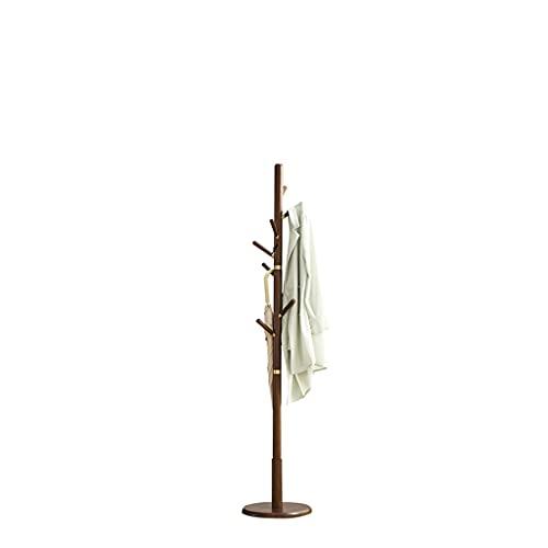 MQH Nordic Solid Wood Coat Rack Suelo Dormitorio Partido Single Posado Ropa Rack Freestanding Fácil Asamblea (Color : Walnut Color)