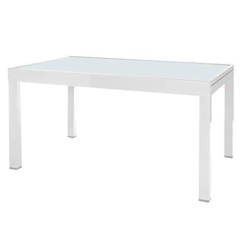 Mesa de jardín Extensible Aluminio Blanca de 74x135x90 cm - LOLAhome
