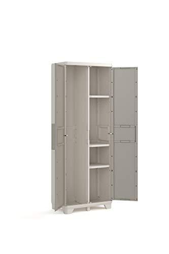 Keter, Besenschrank in Holzoptik, Grau, Türen aus Holzimitat, 68 x 39 x 182 cm